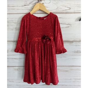 Youngland Sequin Red Christmas Holiday Dress sz 5